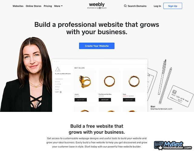 Weebly review: página inicial